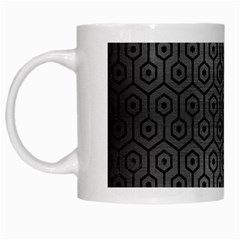 Hexagon1 Black Marble & Gray Brushed Metal White Mugs by trendistuff