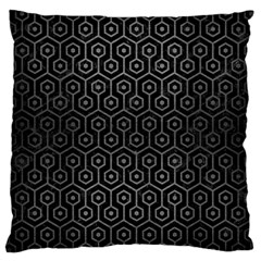 Hexagon1 Black Marble & Gray Brushed Metal (r) Large Cushion Case (two Sides) by trendistuff