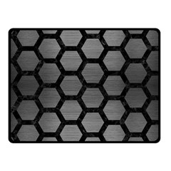 Hexagon2 Black Marble & Gray Brushed Metal Fleece Blanket (small)