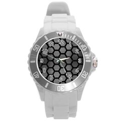 Hexagon2 Black Marble & Gray Brushed Metal Round Plastic Sport Watch (l) by trendistuff