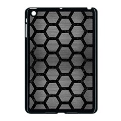 Hexagon2 Black Marble & Gray Brushed Metal Apple Ipad Mini Case (black) by trendistuff