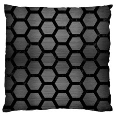 Hexagon2 Black Marble & Gray Brushed Metal Large Flano Cushion Case (one Side) by trendistuff