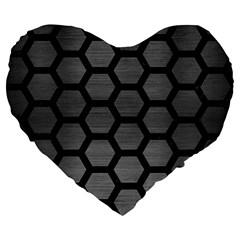 Hexagon2 Black Marble & Gray Brushed Metal Large 19  Premium Flano Heart Shape Cushions