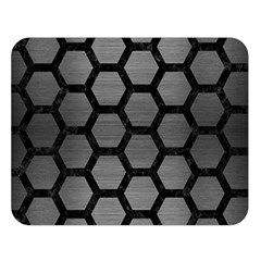 Hexagon2 Black Marble & Gray Brushed Metal Double Sided Flano Blanket (large)  by trendistuff