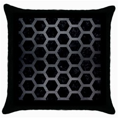 Hexagon2 Black Marble & Gray Brushed Metal (r) Throw Pillow Case (black) by trendistuff