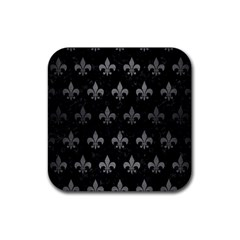 Royal1 Black Marble & Gray Brushed Metal Rubber Coaster (square)  by trendistuff