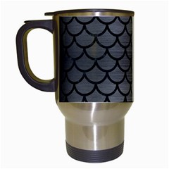 Scales1 Black Marble & Gray Brushed Metal Travel Mugs (white) by trendistuff