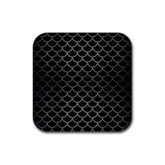 Scales1 Black Marble & Gray Brushed Metal (r) Rubber Square Coaster (4 Pack)  by trendistuff