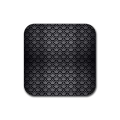 Scales2 Black Marble & Gray Brushed Metal Rubber Square Coaster (4 Pack)  by trendistuff