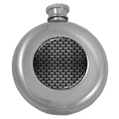 Scales3 Black Marble & Gray Brushed Metal Round Hip Flask (5 Oz) by trendistuff