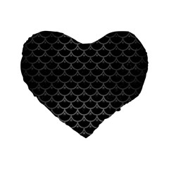 Scales3 Black Marble & Gray Brushed Metal (r) Standard 16  Premium Flano Heart Shape Cushions by trendistuff