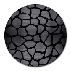 Skin1 Black Marble & Gray Brushed Metal (r) Round Mousepads by trendistuff