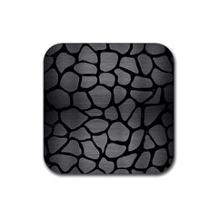 Skin1 Black Marble & Gray Brushed Metal (r) Rubber Square Coaster (4 Pack)  by trendistuff