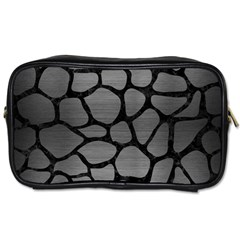Skin1 Black Marble & Gray Brushed Metal (r) Toiletries Bags 2 Side by trendistuff