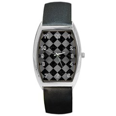 Square2 Black Marble & Gray Brushed Metal Barrel Style Metal Watch by trendistuff
