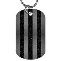 Stripes1 Black Marble & Gray Brushed Metal Dog Tag (one Side) by trendistuff