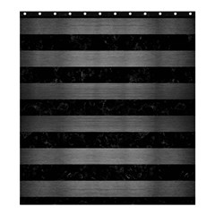 Stripes2 Black Marble & Gray Brushed Metal Shower Curtain 66  X 72  (large)  by trendistuff