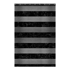 Stripes2 Black Marble & Gray Brushed Metal Shower Curtain 48  X 72  (small)  by trendistuff