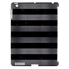 Stripes2 Black Marble & Gray Brushed Metal Apple Ipad 3/4 Hardshell Case (compatible With Smart Cover) by trendistuff