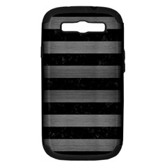 Stripes2 Black Marble & Gray Brushed Metal Samsung Galaxy S Iii Hardshell Case (pc+silicone) by trendistuff