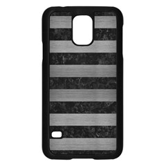 Stripes2 Black Marble & Gray Brushed Metal Samsung Galaxy S5 Case (black) by trendistuff