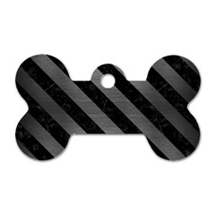 Stripes3 Black Marble & Gray Brushed Metal Dog Tag Bone (two Sides) by trendistuff