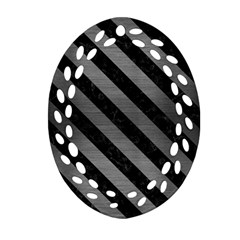 Stripes3 Black Marble & Gray Brushed Metal Oval Filigree Ornament (two Sides) by trendistuff