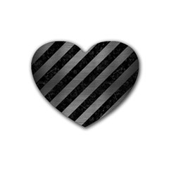 Stripes3 Black Marble & Gray Brushed Metal (r) Heart Coaster (4 Pack)