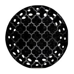 Tile1 Black Marble & Gray Brushed Metal (r) Ornament (round Filigree) by trendistuff