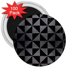 Triangle1 Black Marble & Gray Brushed Metal 3  Magnets (100 Pack) by trendistuff