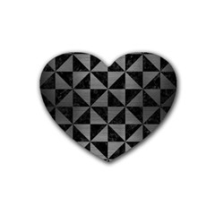 Triangle1 Black Marble & Gray Brushed Metal Rubber Coaster (heart)  by trendistuff