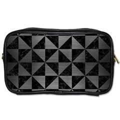Triangle1 Black Marble & Gray Brushed Metal Toiletries Bags 2 Side by trendistuff