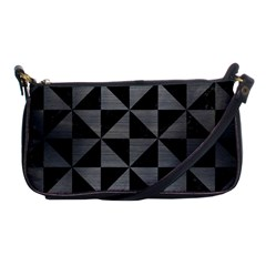 Triangle1 Black Marble & Gray Brushed Metal Shoulder Clutch Bags by trendistuff