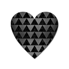 Triangle2 Black Marble & Gray Brushed Metal Heart Magnet by trendistuff
