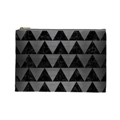 Triangle2 Black Marble & Gray Brushed Metal Cosmetic Bag (large)  by trendistuff