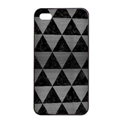 Triangle3 Black Marble & Gray Brushed Metal Apple Iphone 4/4s Seamless Case (black) by trendistuff