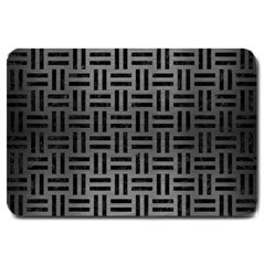 Woven1 Black Marble & Gray Brushed Metal Large Doormat  by trendistuff