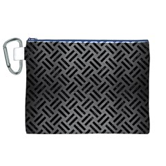 Woven2 Black Marble & Gray Brushed Metal Canvas Cosmetic Bag (xl) by trendistuff