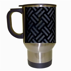 Woven2 Black Marble & Gray Brushed Metal (r) Travel Mugs (white) by trendistuff