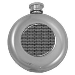 Brick1 Black Marble & Gray Denim Round Hip Flask (5 Oz) by trendistuff