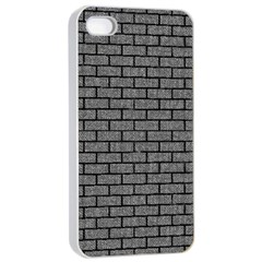 Brick1 Black Marble & Gray Denim Apple Iphone 4/4s Seamless Case (white) by trendistuff