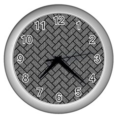 Brick2 Black Marble & Gray Denim Wall Clocks (silver)  by trendistuff