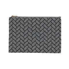 Brick2 Black Marble & Gray Denim Cosmetic Bag (large)  by trendistuff