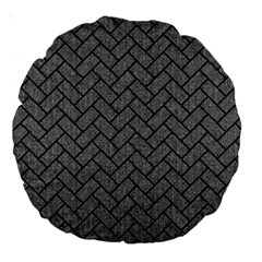 Brick2 Black Marble & Gray Denim Large 18  Premium Round Cushions by trendistuff