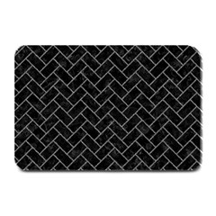 Brick2 Black Marble & Gray Denim (r) Plate Mats by trendistuff