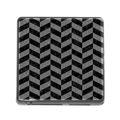 Chevron1 Black Marble & Gray Denim Memory Card Reader (square) by trendistuff