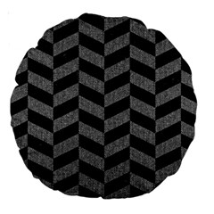 Chevron1 Black Marble & Gray Denim Large 18  Premium Round Cushions by trendistuff