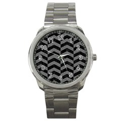 Chevron2 Black Marble & Gray Denim Sport Metal Watch by trendistuff