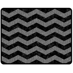Chevron3 Black Marble & Gray Denim Fleece Blanket (medium)