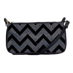 Chevron9 Black Marble & Gray Denim Shoulder Clutch Bags by trendistuff